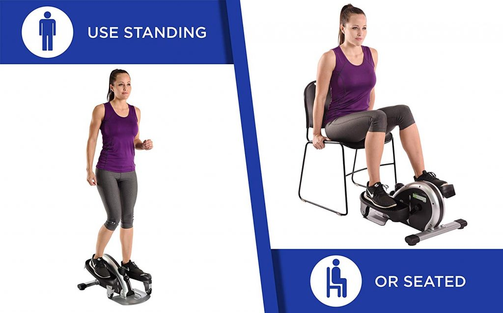 Image shows lady using the stamina in-motion stepper standing up and also sitting down